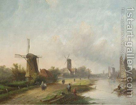 Summer windmills along a river by Jan Jacob Coenraad Spohler - Reproduction Oil Painting