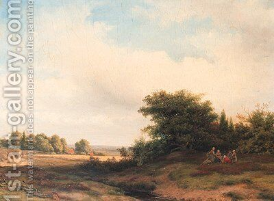 Summer landscape with peasants resting at the edge of a wood by Jacob Jan van der Maaten - Reproduction Oil Painting