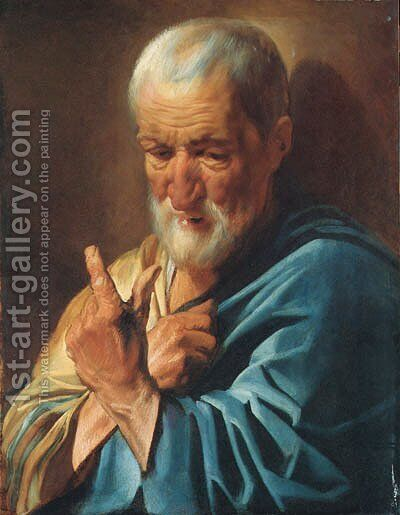 An old man with a raised finger by Jacob Jordaens - Reproduction Oil Painting