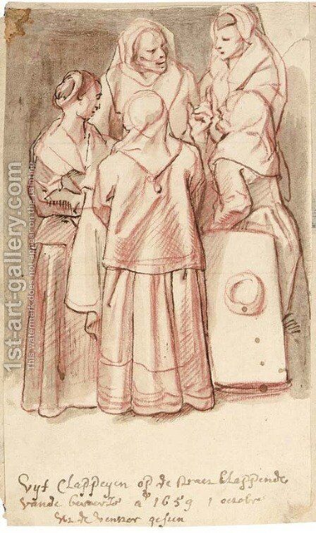 Five women gossiping in the street by Jacob Jordaens - Reproduction Oil Painting