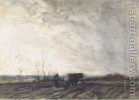 A farmer ploughing a field by Jacob Henricus Maris - Reproduction Oil Painting