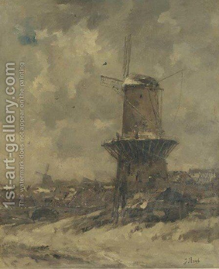 A windmill in the snow 2 by Jacob Henricus Maris - Reproduction Oil Painting