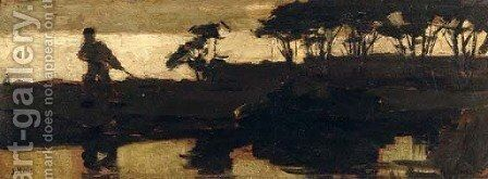 By a canal at dusk by Jacob Henricus Maris - Reproduction Oil Painting