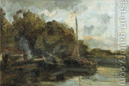 Moored sailing barges along a canal by Jacob Henricus Maris - Reproduction Oil Painting