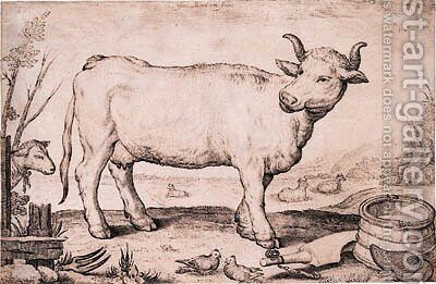A Cow by Jacob Matham - Reproduction Oil Painting