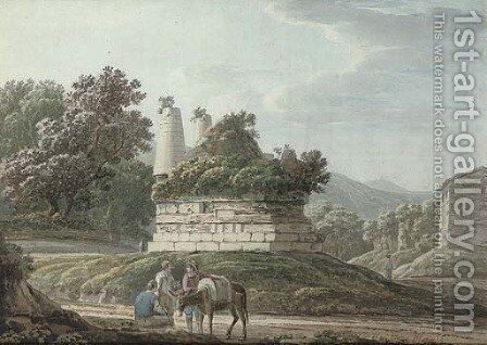 A monument to the Curatii near Albano, Italy by Jacob More - Reproduction Oil Painting