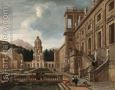 The Courtyard of a fantastical Palace with Figures gathered around a Fountain by Jacob Balthasar Peeters - Reproduction Oil Painting