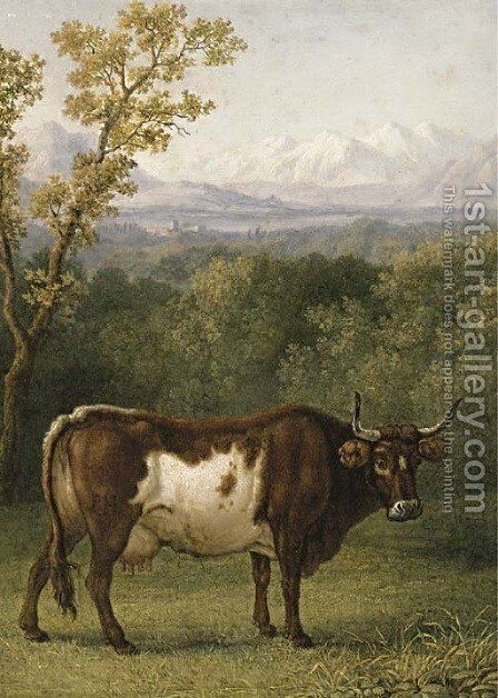 A cow out to pasture, an Alpine landscape beyond by Jacob Philipp Hackert - Reproduction Oil Painting