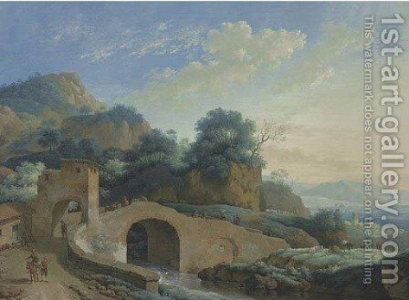 A mountain landscape with a bridge over a river in the foreground by Jacob Philipp Hackert - Reproduction Oil Painting