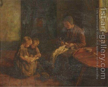Children reading in an interior by Jacob Simon Hendrik Kever - Reproduction Oil Painting