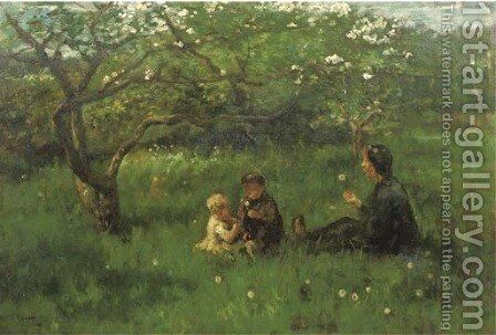In the orchard blowing dandelions by Jacob Simon Hendrik Kever - Reproduction Oil Painting