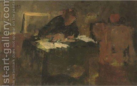 In the study by Jacob Simon Hendrik Kever - Reproduction Oil Painting