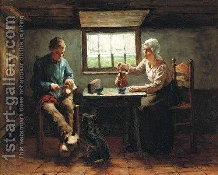 Teatime in a rural interior by Jacob Simon Hendrik Kever - Reproduction Oil Painting