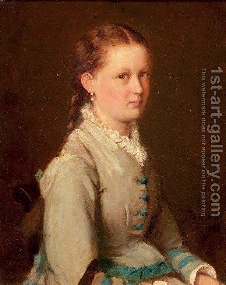 Portrait of a girl in a blue and white dress by Jacob Taanmann - Reproduction Oil Painting