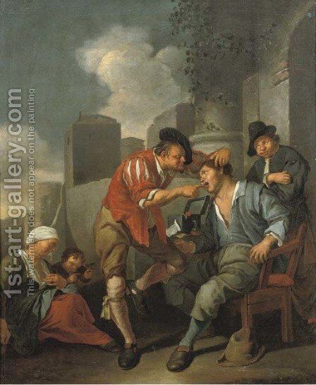 A dentist at work outside an archway by Jacob Toorenvliet - Reproduction Oil Painting