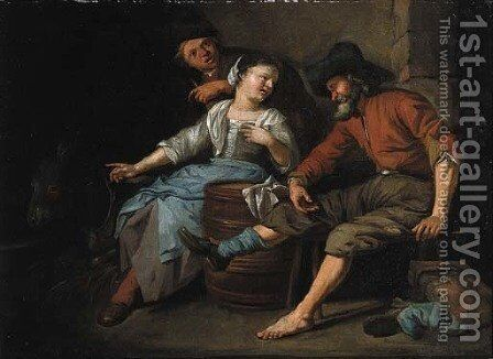A maid entertaining travellers in a barn by Jacob Toorenvliet - Reproduction Oil Painting