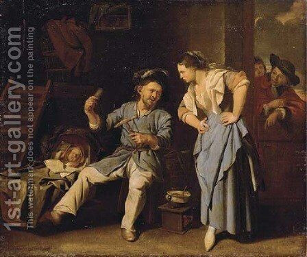 A man spinning yarn with a peasant woman and a baby in a wicker cot by Jacob Toorenvliet - Reproduction Oil Painting