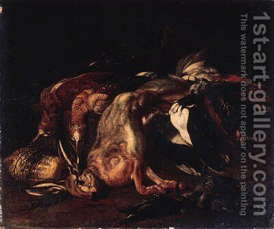 A dead hare and dead snipe by Jacob van der (Giacomo da Castello) Kerckhoven - Reproduction Oil Painting