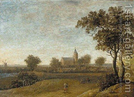 An  extensive landscape travellers on a path, a walled town beyond by Anthony Jansz van der Croos - Reproduction Oil Painting