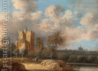 Landscape with a ruined castle and Haarlem in the distance by Anthony Jansz van der Croos - Reproduction Oil Painting