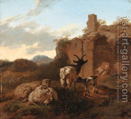 An Italianate Landscape with Sheep and Goats near Ruins by Jacob Van Der Does I - Reproduction Oil Painting