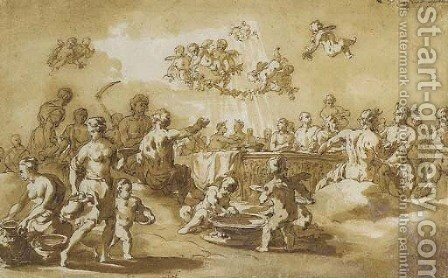 A feast of the Gods by Jacob Van Der Ulft - Reproduction Oil Painting