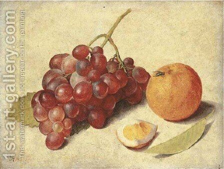 A bunch of grapes on the vine by Jacob van Hulsdonck - Reproduction Oil Painting