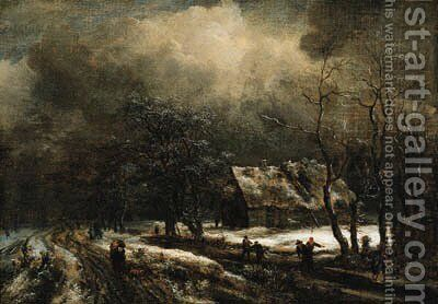 A winter landscape with peasants on a road and skaters on a frozen river, a cottage nearby by Jacob Van Ruisdael - Reproduction Oil Painting