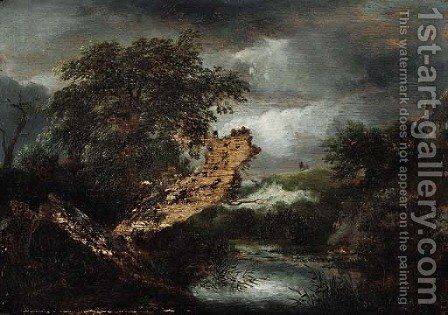 A wooded river landscape with a blasted tree by Jacob Van Ruisdael - Reproduction Oil Painting