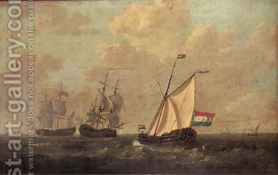 A cutter of the Dutch East India Company and two men-o-war with other shipping, a town on the horizon by Jacob Van Stry - Reproduction Oil Painting