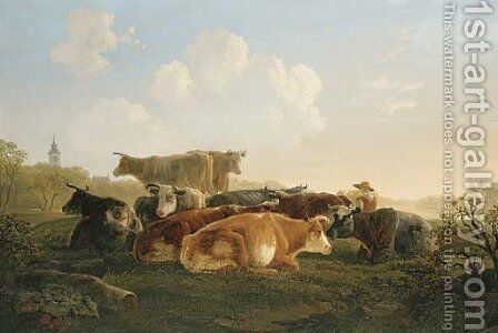 Cattle and a herder resting in a landscape by Jacob Van Stry - Reproduction Oil Painting