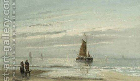 Aan de Noordzee by Jacob Willem Gruijter - Reproduction Oil Painting