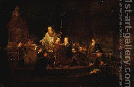 A King making a Sacrifice before an Altar by Jacob Willemsz de Wet the Elder - Reproduction Oil Painting