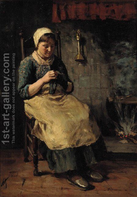 Darning by Jacob Simon Hendrik Kever - Reproduction Oil Painting