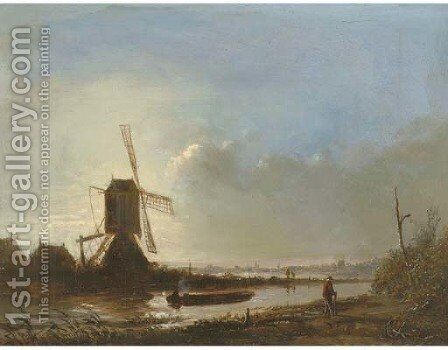 A windmill in a polder landscape at sunset by Jacobus Adrianus Maigret - Reproduction Oil Painting