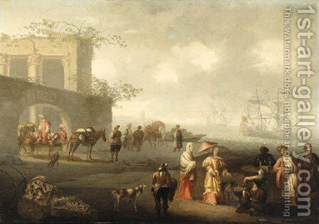 A Coastal Landscape with elegant Figures and Travellers by the Walls of a City by Jacobus De Jonckheer - Reproduction Oil Painting
