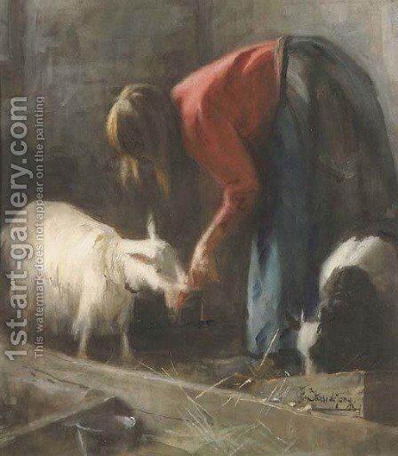Feeding the goats by Jacobus Frederick Sterre De Jong - Reproduction Oil Painting