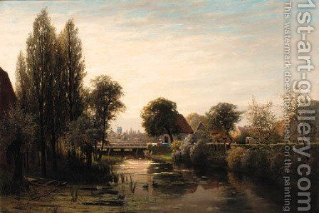 A Dutch village by a canal by Jacobus Johannes Van Poorten - Reproduction Oil Painting