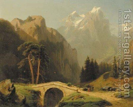 An Alpine valley by Jacobus Nicolaas Tjarda Van Stachouwer - Reproduction Oil Painting