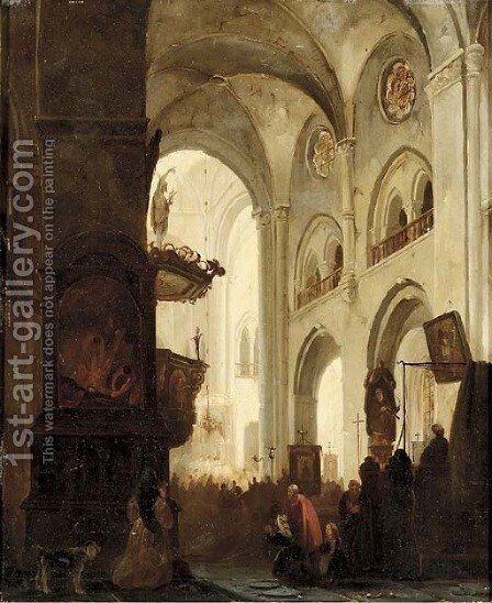 A church interior during the mass by Jacobus Pelgrom - Reproduction Oil Painting