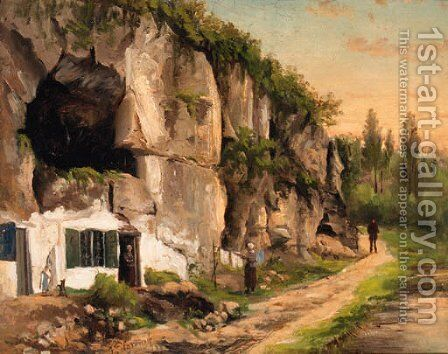 The House under the Rock-face by Jacobus Pelgrom - Reproduction Oil Painting