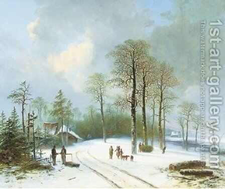 Figures on a snow-covered forest path by Acobus Loernsz. Sorensen - Reproduction Oil Painting