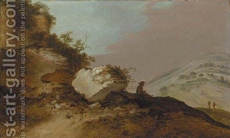 An extensive rocky landscape with a traveller resting on an outcrop below a castle by Jacobus Sibrandi Mancadan - Reproduction Oil Painting