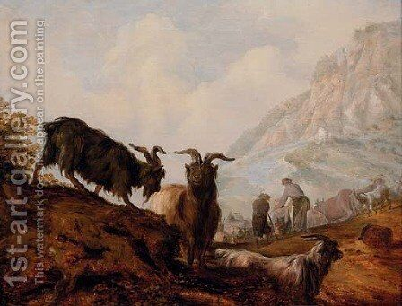 Peasants and goats in a mountainous landscape by Jacobus Sibrandi Mancadan - Reproduction Oil Painting