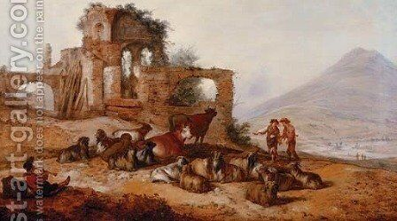 Peasants with livestock by classical ruins in an extensive landscape, with a youth playing a pipe in the foreground by Jacobus Sibrandi Mancadan - Reproduction Oil Painting