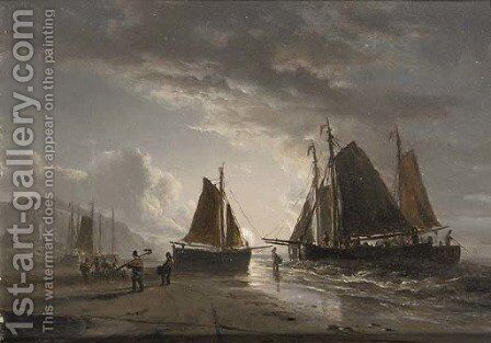 A moonlit beach with fishermen at work by Jacobus Theodorus Abels - Reproduction Oil Painting