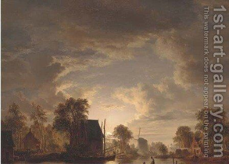 Drawing in the nets by moonlight by Jacobus Theodorus Abels - Reproduction Oil Painting