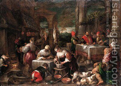 Dives and Lazarus by Jacopo Bassano (Jacopo da Ponte) - Reproduction Oil Painting