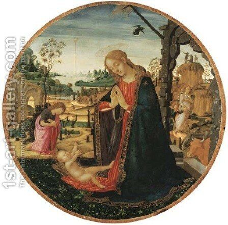 The Madonna and Child, the Youthful Saint John the Baptist and an Angel in a landscape beyond by Jacopo Del Sellaio - Reproduction Oil Painting