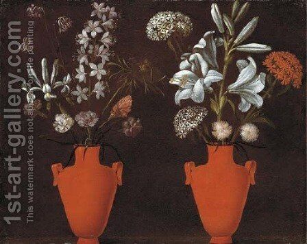 Two red vases with lilies by Jacopo Ligozzi - Reproduction Oil Painting